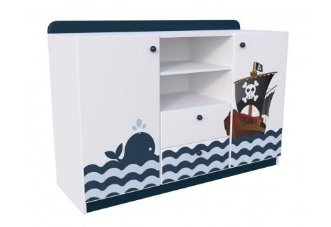 Детская мебель Комод две двери два ящика широкий Морская