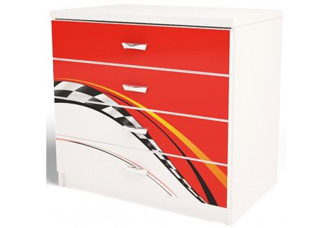 Детская мебель Комод с четырьмя ящиками La-Man красный