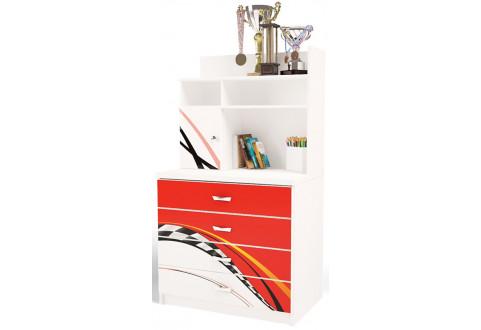Детская мебель Комод с четырьмя ящиками и надстройкой La-Man красный