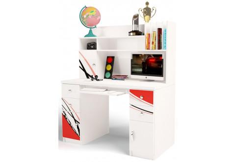 Детская мебель Стол двухтумбовый с надстройкой La-Man красный