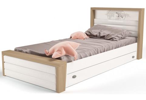 Детская мебель Кровать с ящиком для хранения и мягким изножьем Mix Ocean кремовый