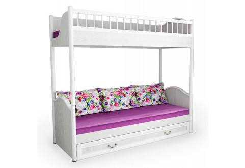 Детская мебель Кровать двухъярусная со сплошным ограждением Классика