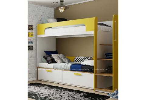 Детская мебель Кровать двухъярусная без ящика под лестницей Junior Vogue