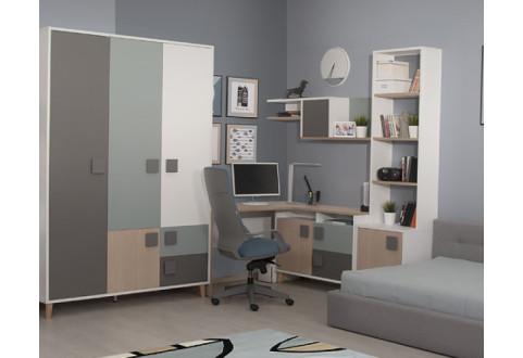 Детская мебель Шкаф трехдверный с ящиками Димика