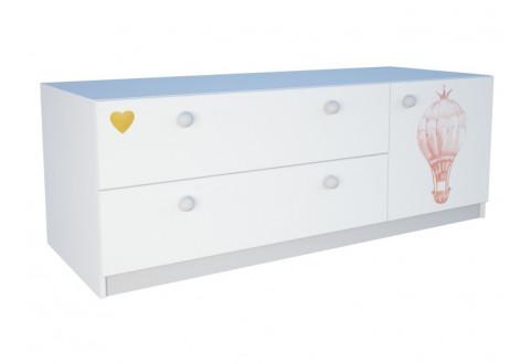 Детская мебель Тумба напольная широкая с двумя ящиками и одной дверью La princess