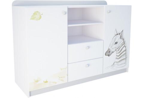 Детская мебель Комод две двери два ящика широкий Сафари парк