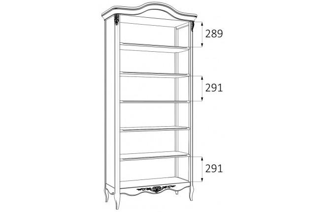 Книжный шкаф пять полок Silvery Rome