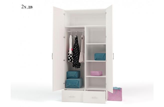 Шкаф двухдверный с двумя выдвижными ящиками La-Man синий