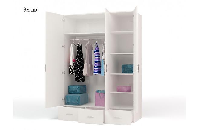 Шкаф трехдверный  La-Man синий