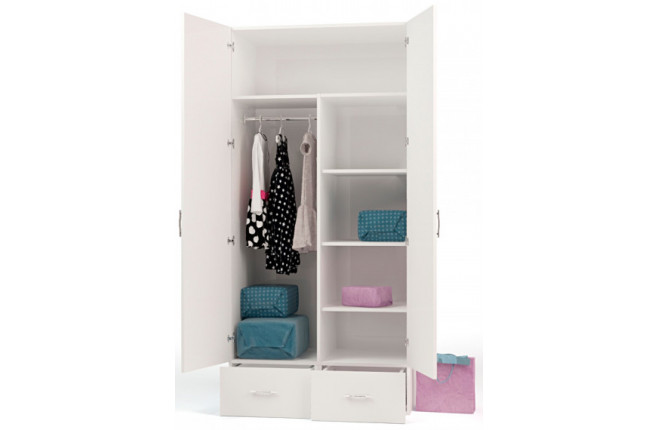 Шкаф двухдверный с двумя выдвижными ящиками со стразами Swarovski Фея