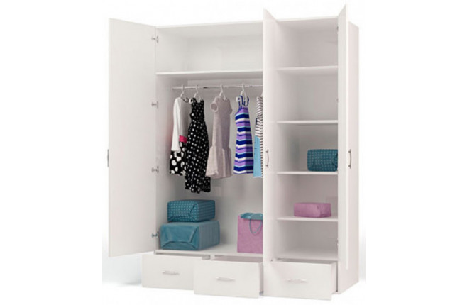 Шкаф трехдверный с зеркалом и стразами Swarovski Фея