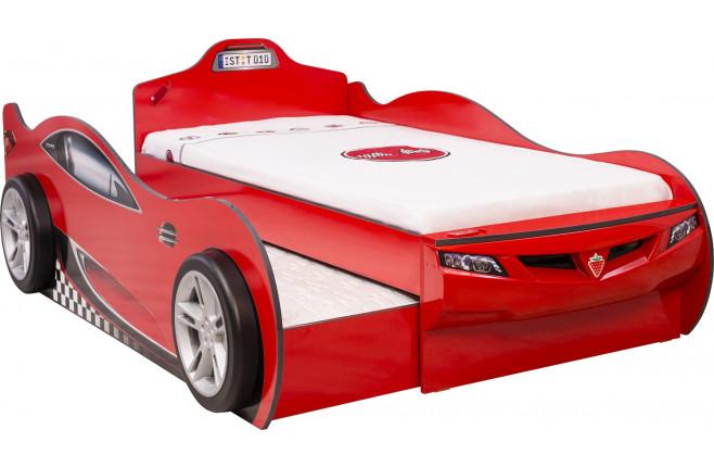 Кровать-машина c выдвижной кроватью красная Coupe