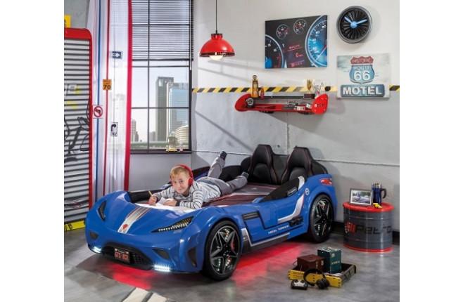 Кровать-машина синяя GTS