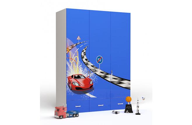 Шкаф трехдверный Formula синий
