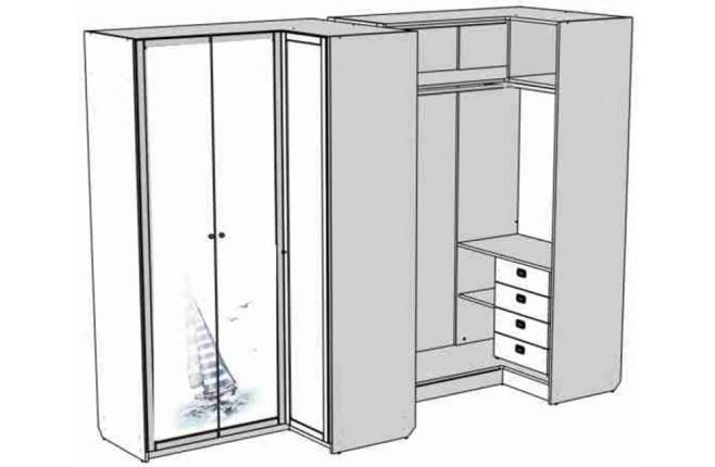 Шкаф-гардероб с четырьмя внутренними ящиками с принтом Calypso